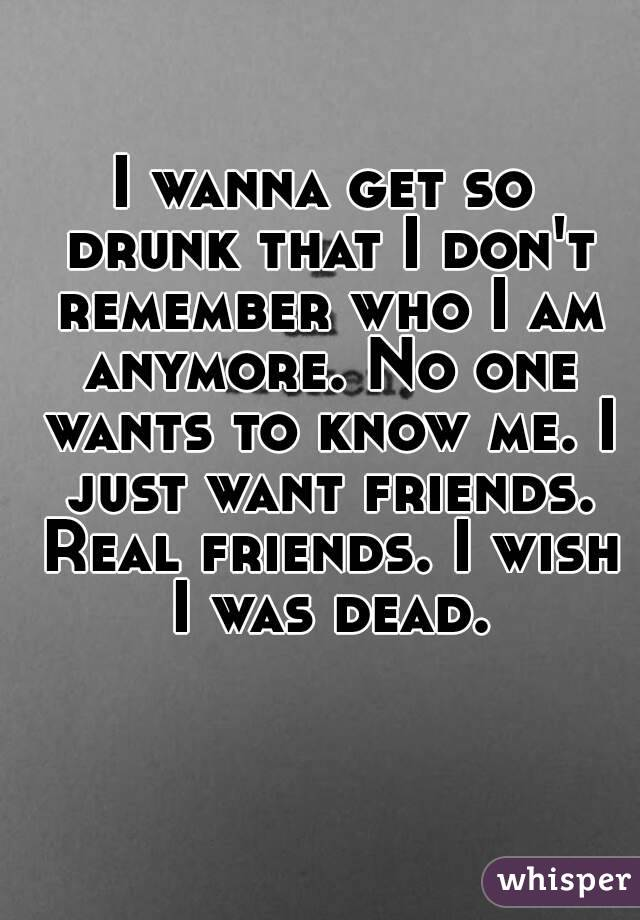 I wanna get so drunk that I don't remember who I am anymore. No one wants to know me. I just want friends. Real friends. I wish I was dead.