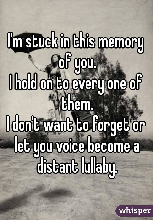 I'm stuck in this memory of you. I hold on to every one of them. I don't want to forget or let you voice become a distant lullaby.