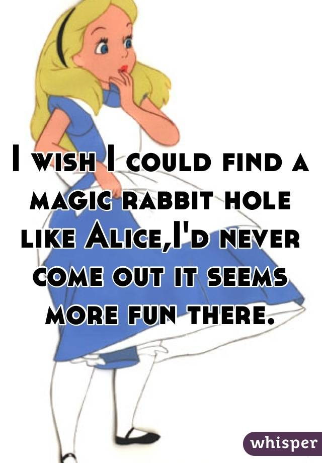 I wish I could find a magic rabbit hole like Alice,I'd never come out it seems more fun there.