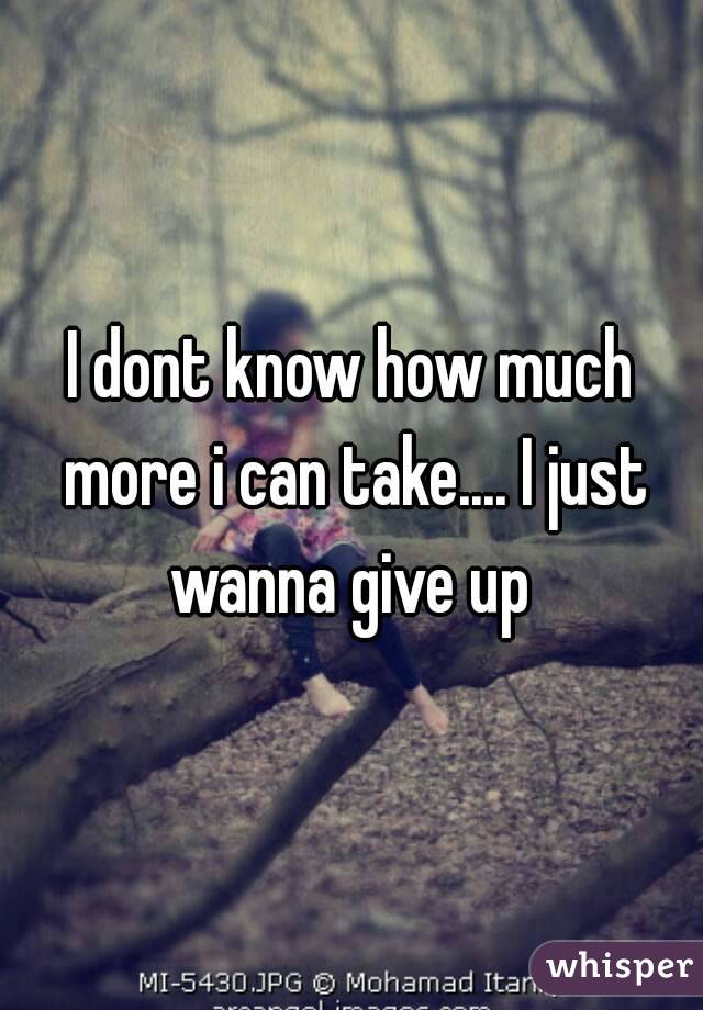 I dont know how much more i can take.... I just wanna give up