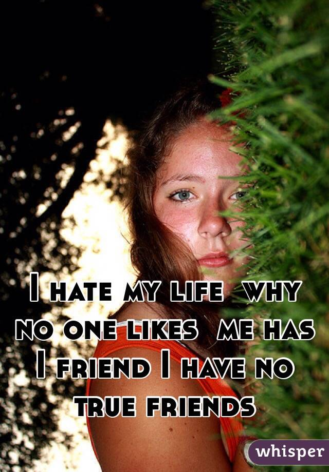 I hate my life  why no one likes  me has I friend I have no true friends