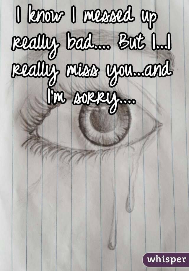I know I messed up really bad.... But I...I really miss you...and I'm sorry....