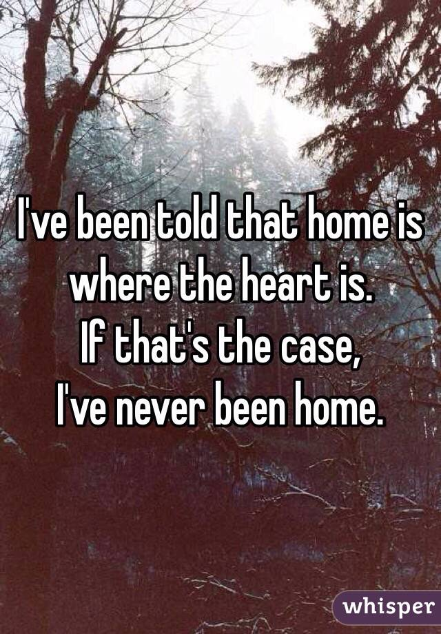 I've been told that home is where the heart is.  If that's the case, I've never been home.