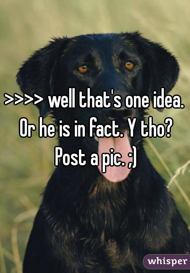 >>>> well that's one idea. Or he is in fact. Y tho? Post a pic. ;)