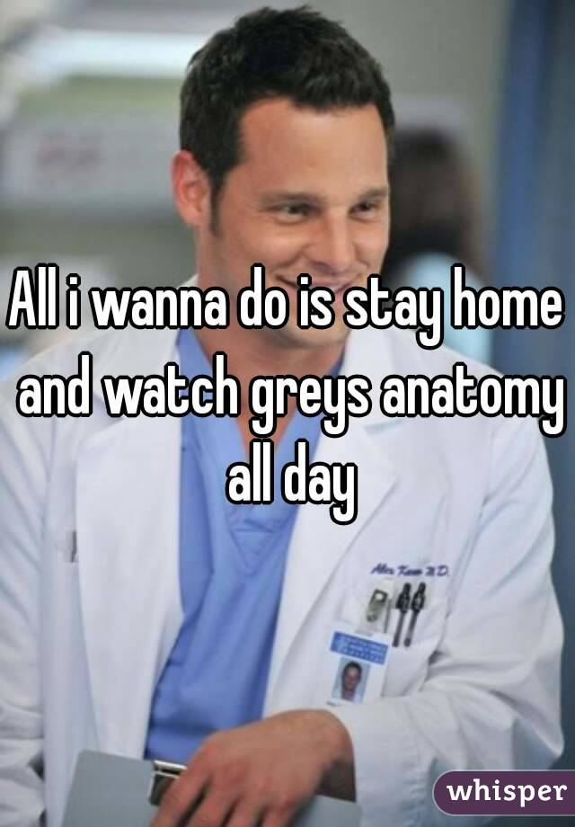 All I Wanna Do Is Stay Home And Watch Greys Anatomy All Day