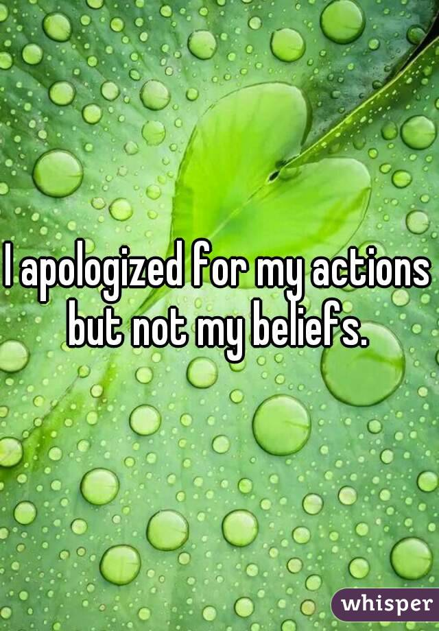 I apologized for my actions but not my beliefs.