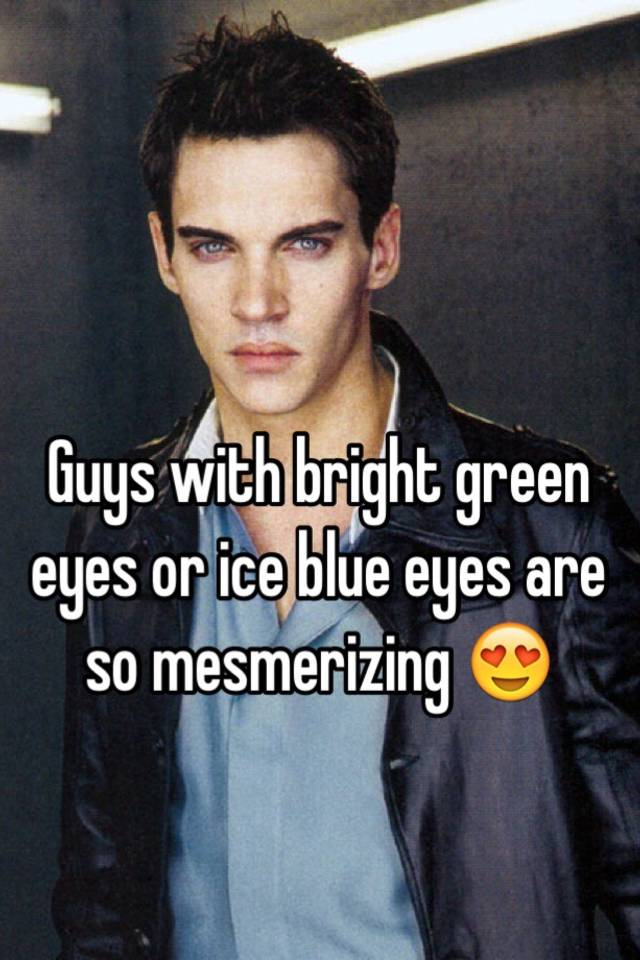 eyes ice blue Black hair