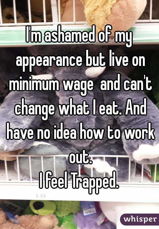 I'm ashamed of my appearance but live on minimum wage  and can't change what I eat. And have no idea how to work out. I feel Trapped.