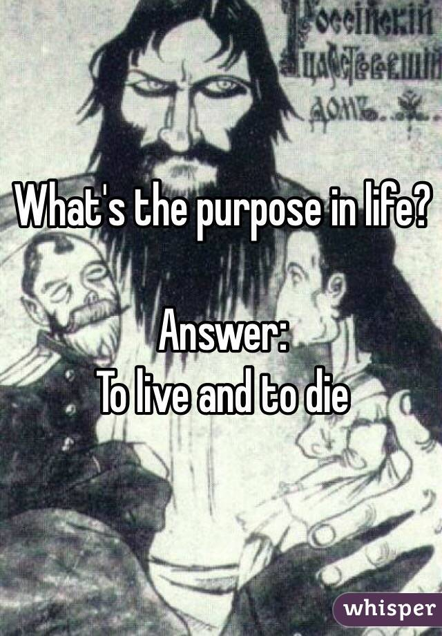 What's the purpose in life?   Answer: To live and to die