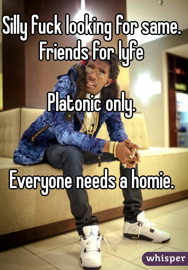Silly fuck looking for same.  Friends for lyfe   Platonic only.    Everyone needs a homie.