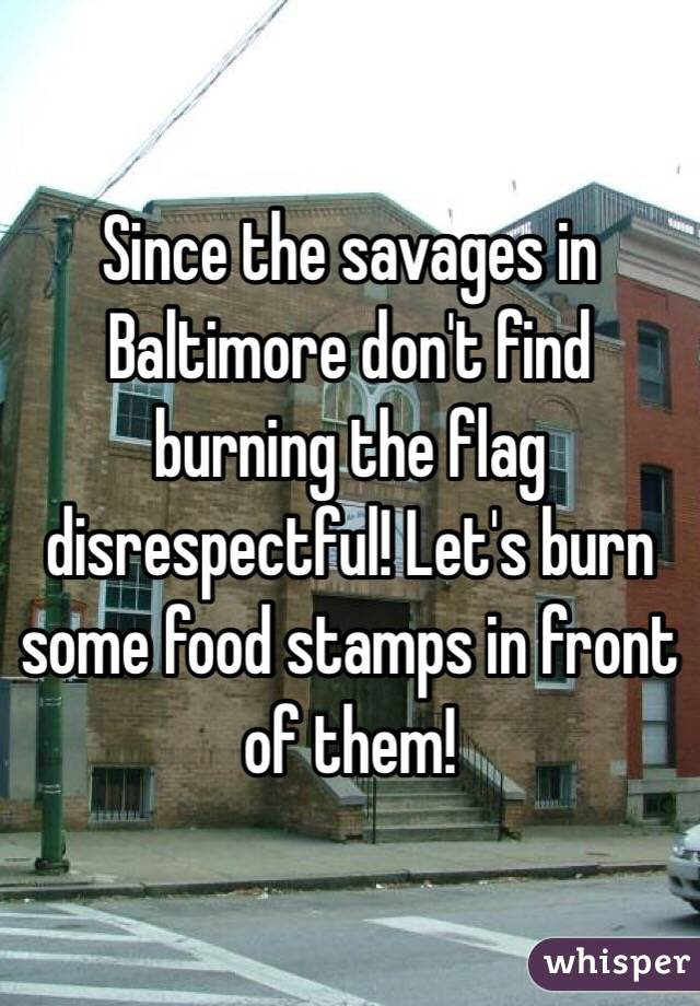 Since the savages in Baltimore don't find burning the flag disrespectful! Let's burn some food stamps in front of them!