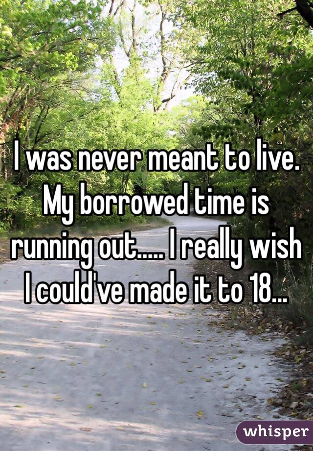 I was never meant to live. My borrowed time is running out..... I really wish I could've made it to 18...