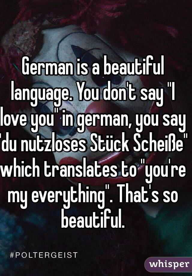 German Is A Beautiful Language You Dont Say I Love You In German