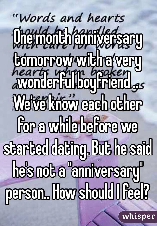 Dating one month exclusive