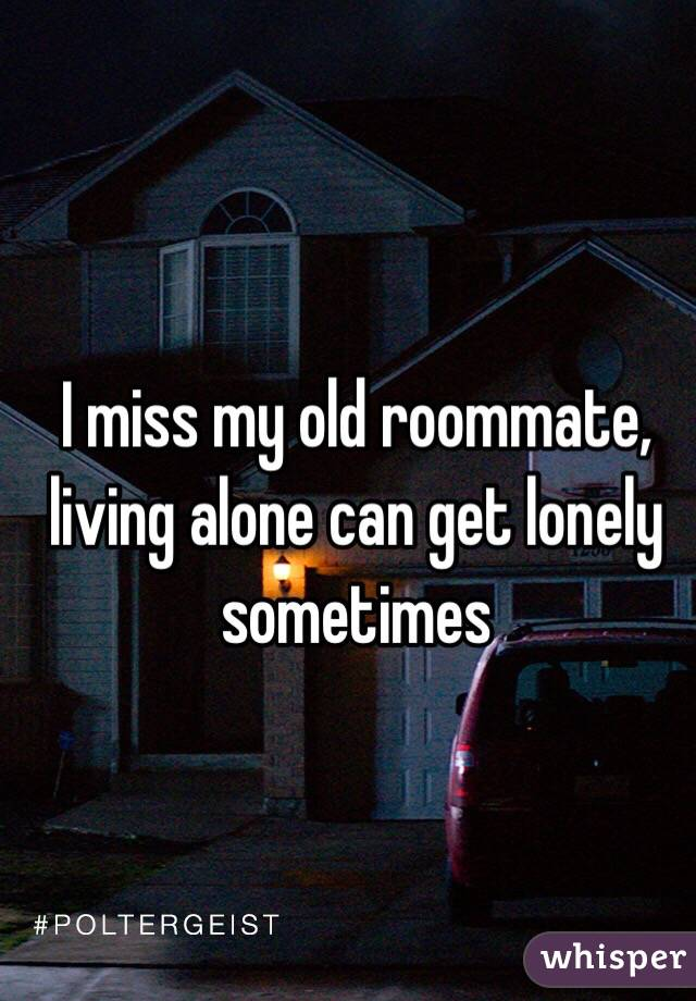 I miss my old roommate, living alone can get lonely sometimes