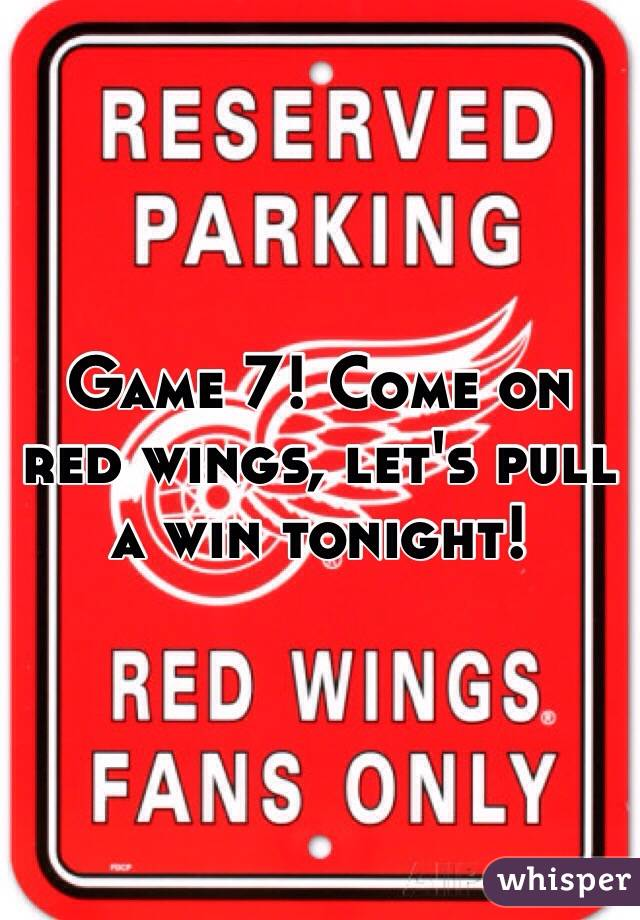 Game 7! Come on red wings, let's pull a win tonight!