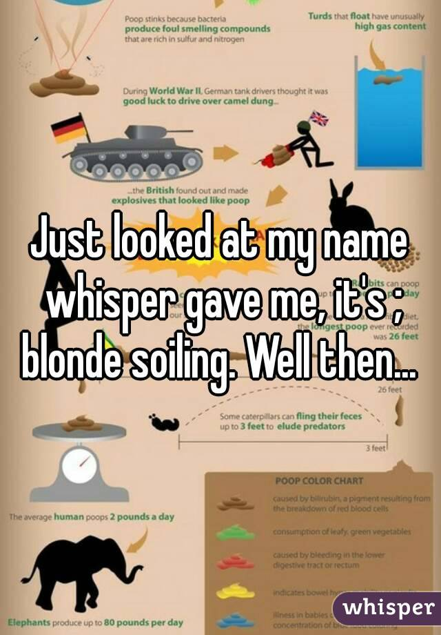 Just looked at my name whisper gave me, it's ; blonde soiling. Well then...