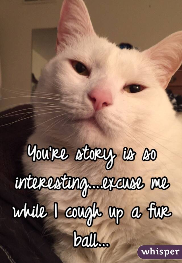 You're story is so interesting....excuse me while I cough up a fur ball...