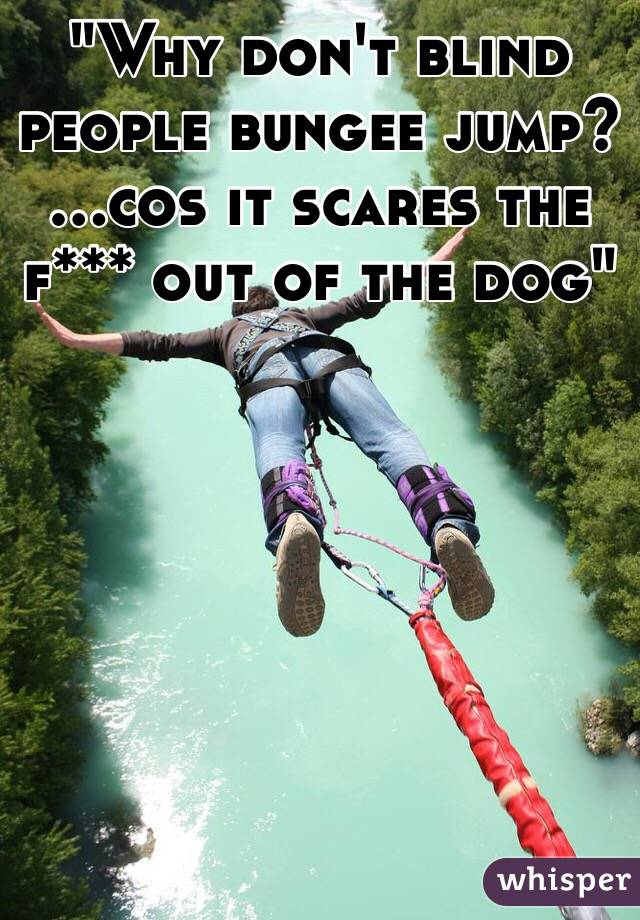 """""""Why don't blind people bungee jump? ...cos it scares the f*** out of the dog"""""""
