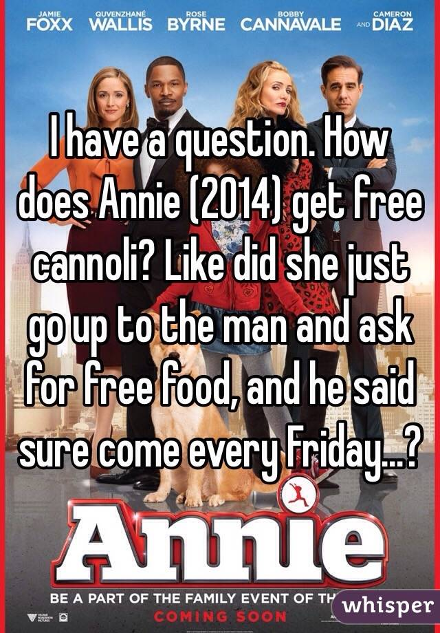 I have a question. How does Annie (2014) get free cannoli? Like did she just go up to the man and ask for free food, and he said sure come every Friday...?
