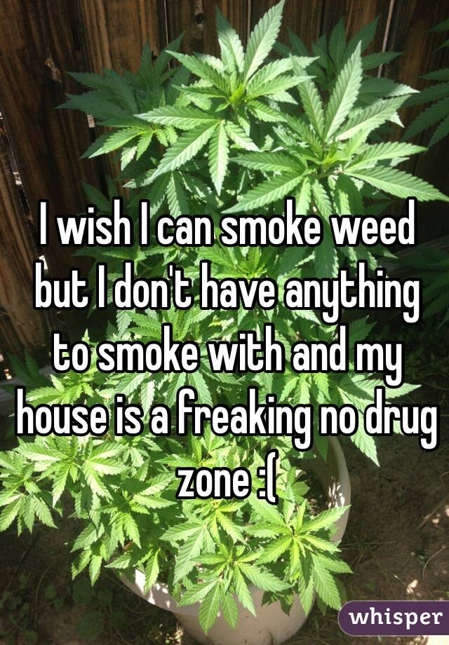 I wish I can smoke weed but I don't have anything to smoke with and my house is a freaking no drug zone :(