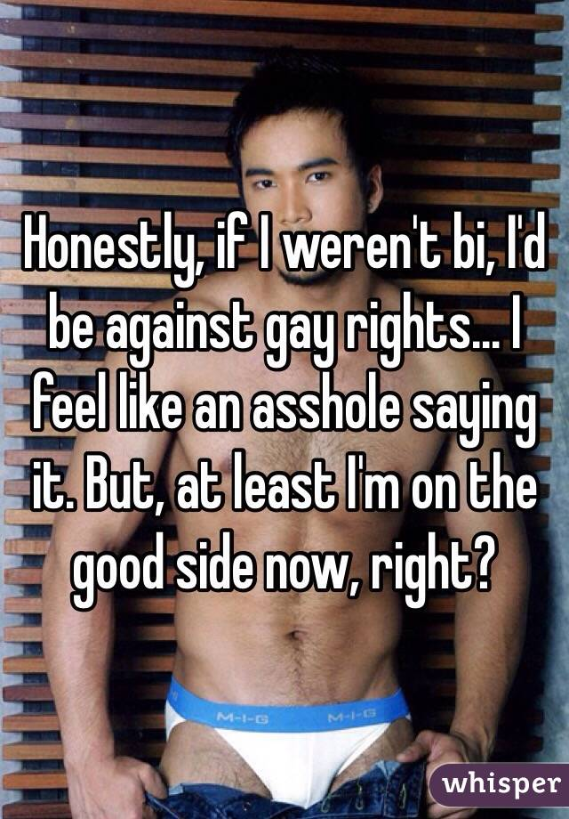 Honestly, if I weren't bi, I'd be against gay rights... I feel like an asshole saying it. But, at least I'm on the good side now, right?