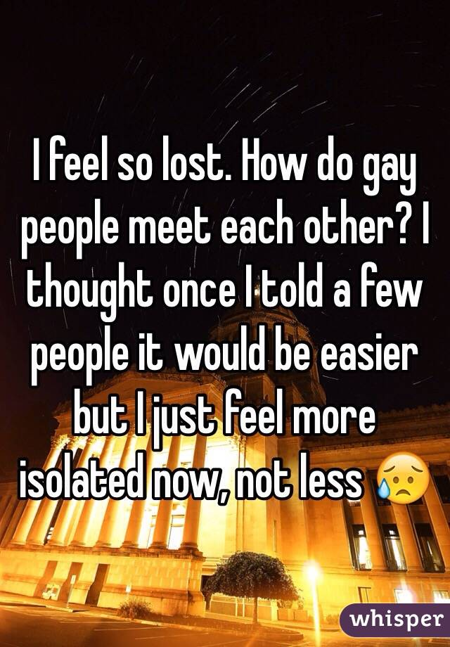 I feel so lost. How do gay people meet each other? I thought once I told a few people it would be easier but I just feel more isolated now, not less 😥