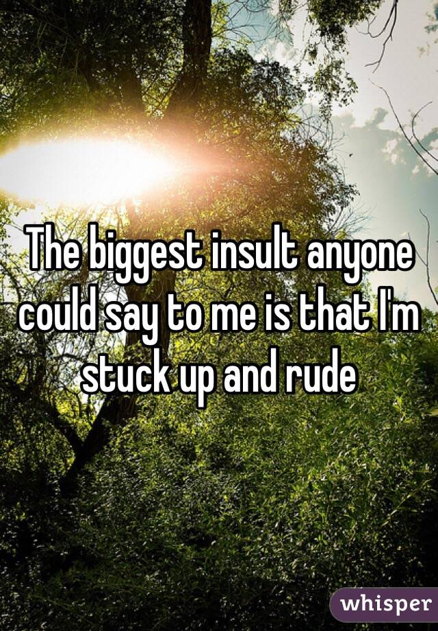 The biggest insult anyone could say to me is that I'm stuck up and rude