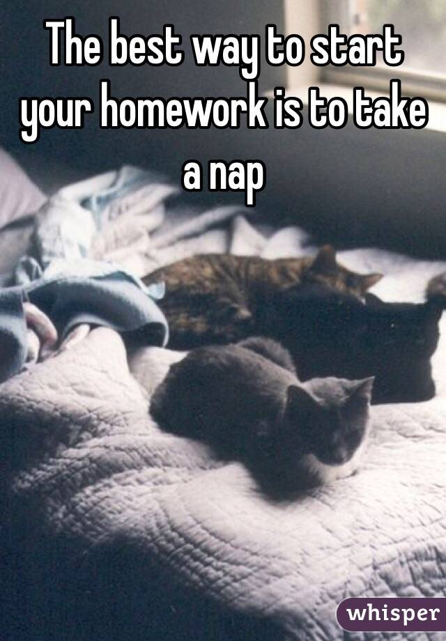 The best way to start your homework is to take a nap