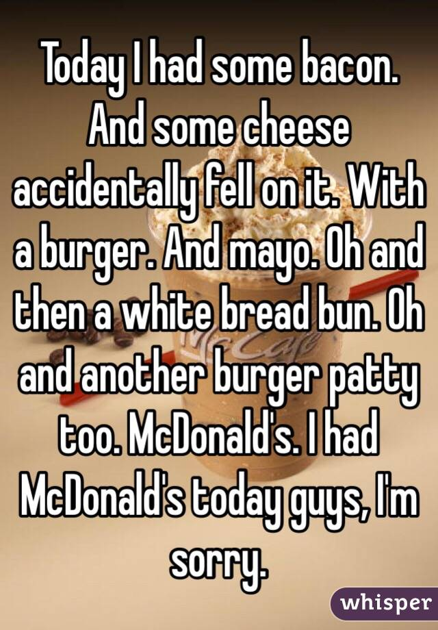 Today I had some bacon. And some cheese accidentally fell on it. With a burger. And mayo. Oh and then a white bread bun. Oh and another burger patty too. McDonald's. I had McDonald's today guys, I'm sorry.