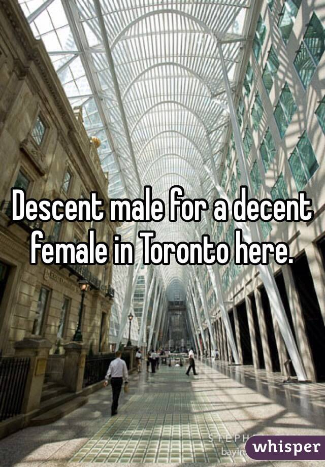 Descent male for a decent female in Toronto here.