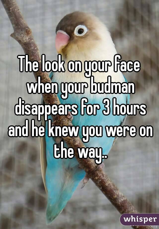 The look on your face when your budman disappears for 3 hours and he knew you were on the way..