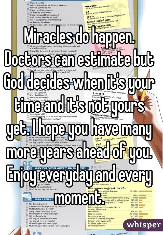 Miracles do happen  Doctors can estimate but God decides