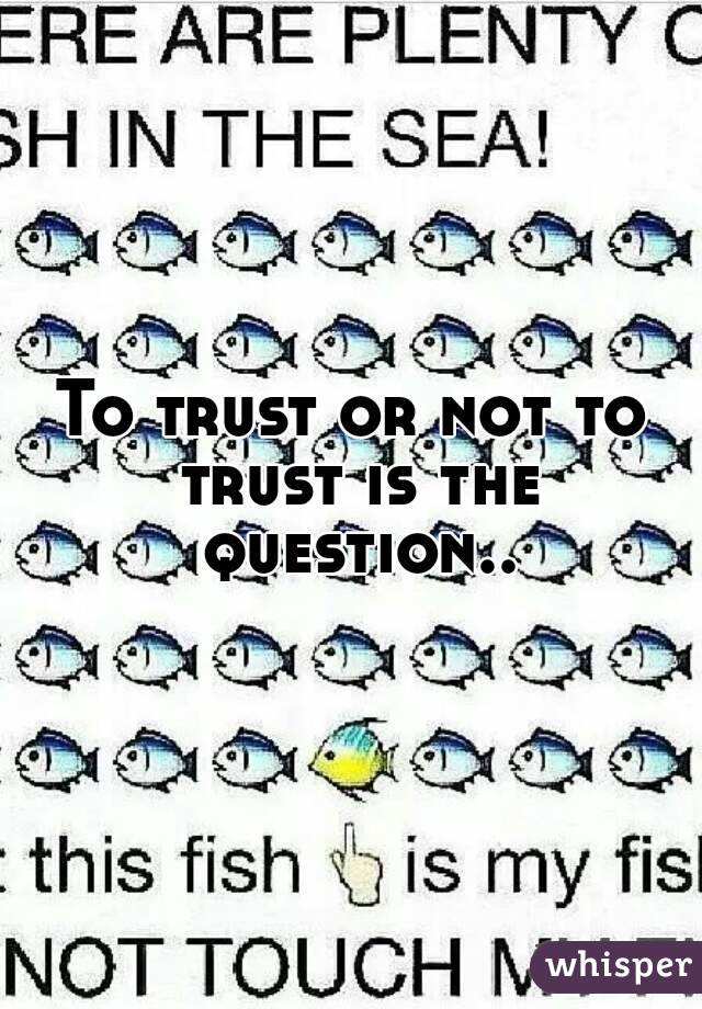 To trust or not to trust is the question..