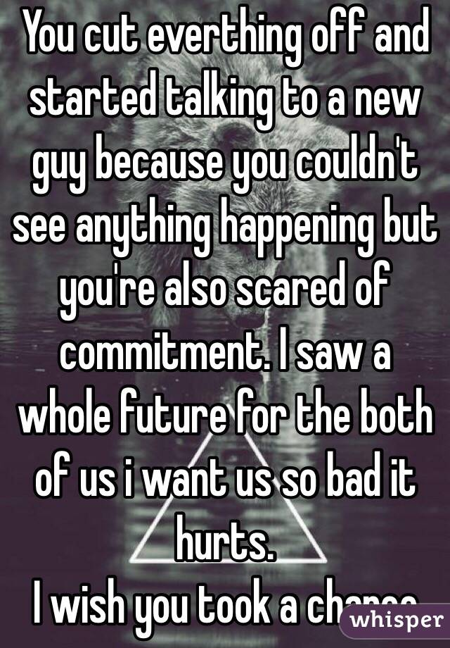You cut everthing off and started talking to a new guy because you couldn't see anything happening but you're also scared of commitment. I saw a whole future for the both of us i want us so bad it hurts.  I wish you took a chance
