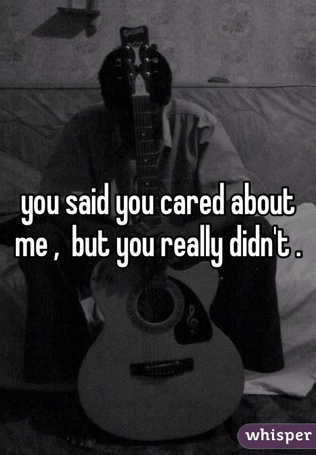 you said you cared about me ,  but you really didn't .