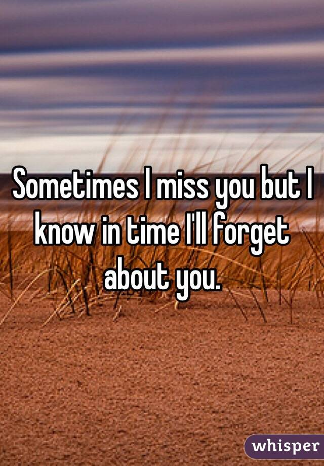 Sometimes I miss you but I know in time I'll forget about you.