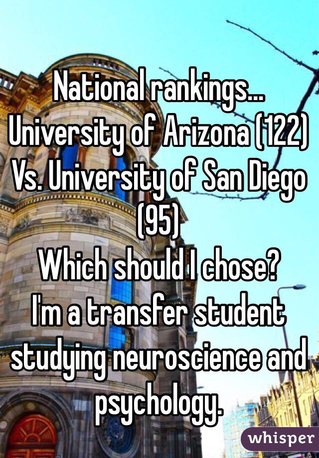 National rankings... University of Arizona (122) Vs. University of San Diego (95) Which should I chose?  I'm a transfer student studying neuroscience and psychology.