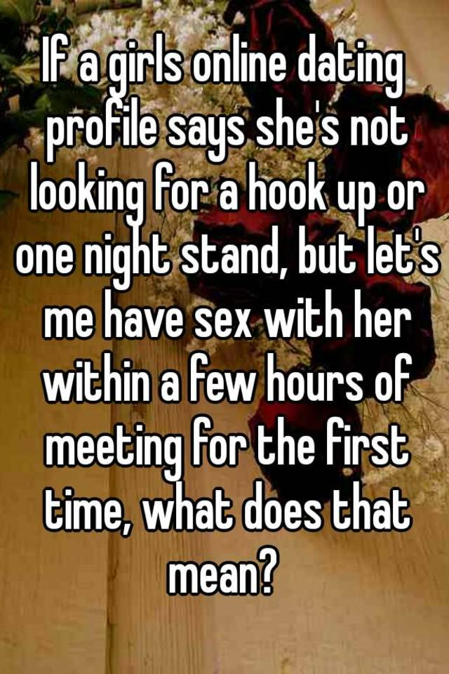 Online dating for one night stands