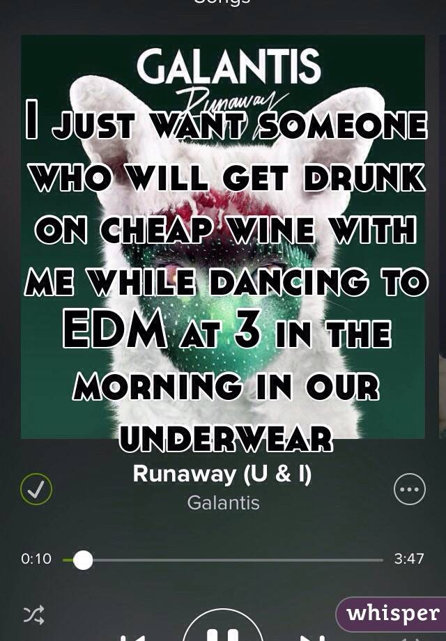 I just want someone who will get drunk on cheap wine with me while dancing to EDM at 3 in the morning in our underwear
