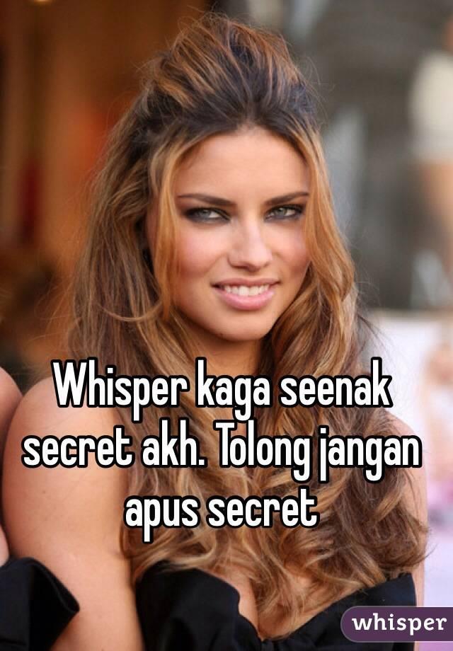 Whisper kaga seenak secret akh. Tolong jangan apus secret