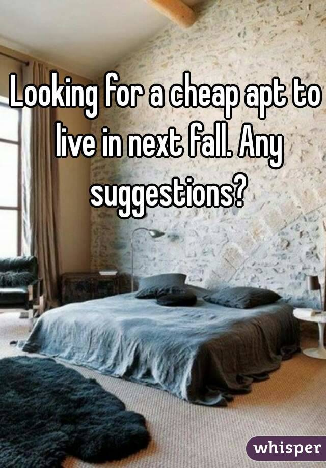 Looking for a cheap apt to live in next fall. Any suggestions?