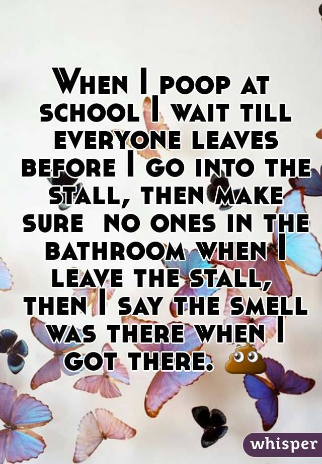 When I poop at school I wait till everyone leaves before I go into the stall, then make sure  no ones in the bathroom when I leave the stall,  then I say the smell was there when I got there. 💩