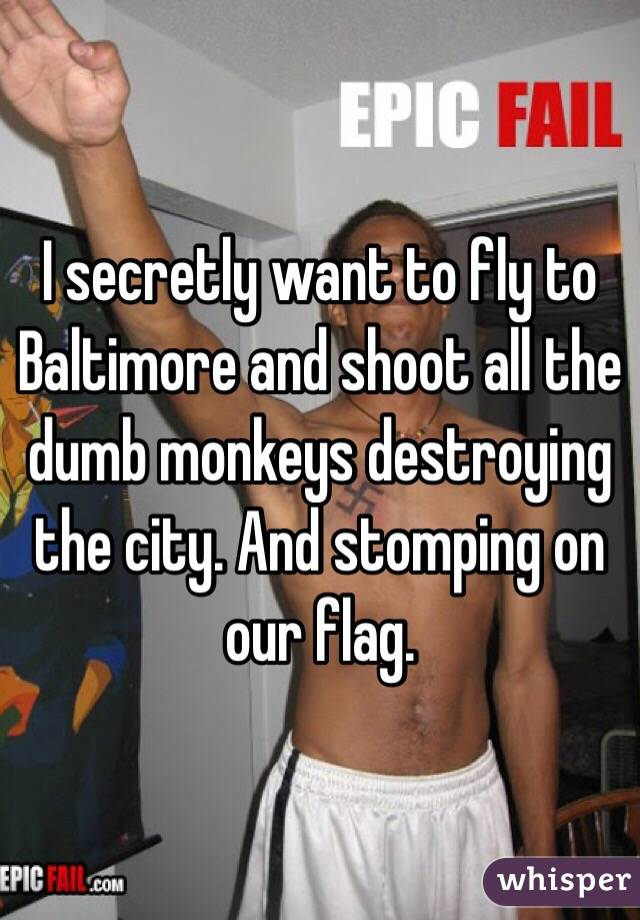 I secretly want to fly to Baltimore and shoot all the dumb monkeys destroying the city. And stomping on our flag.
