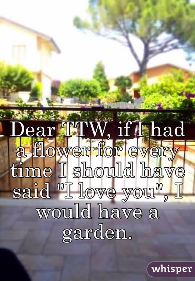 """Dear TTW, if I had a flower for every time I should have said """"I love you"""", I would have a garden."""