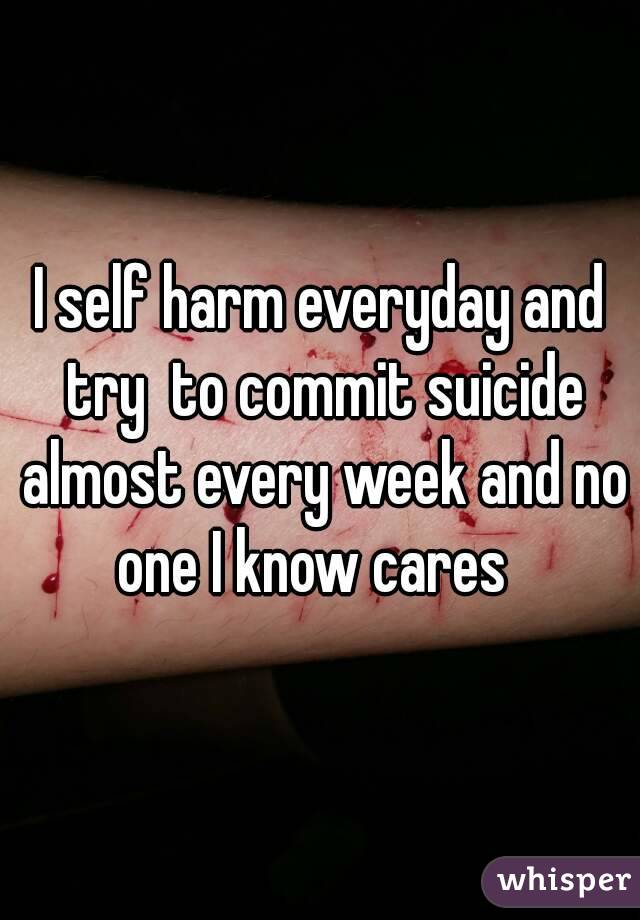 I self harm everyday and try  to commit suicide almost every week and no one I know cares