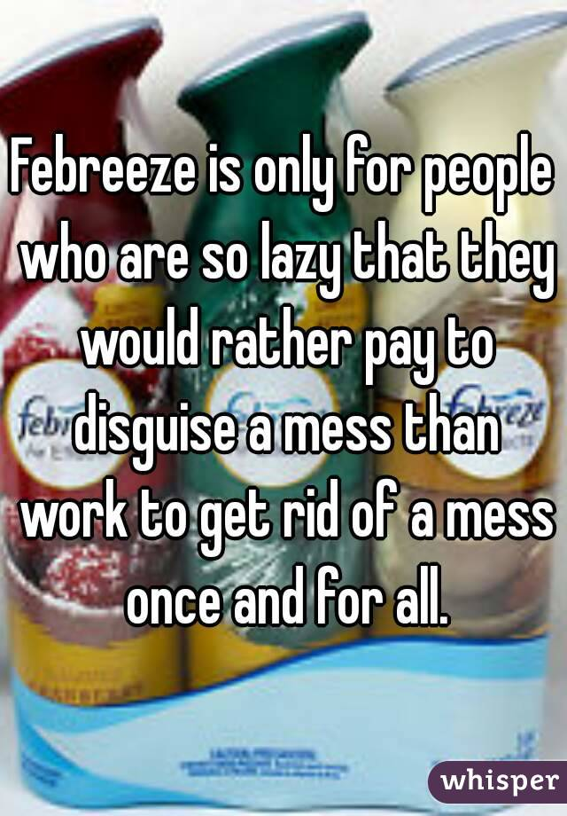 Febreeze is only for people who are so lazy that they would rather pay to disguise a mess than work to get rid of a mess once and for all.