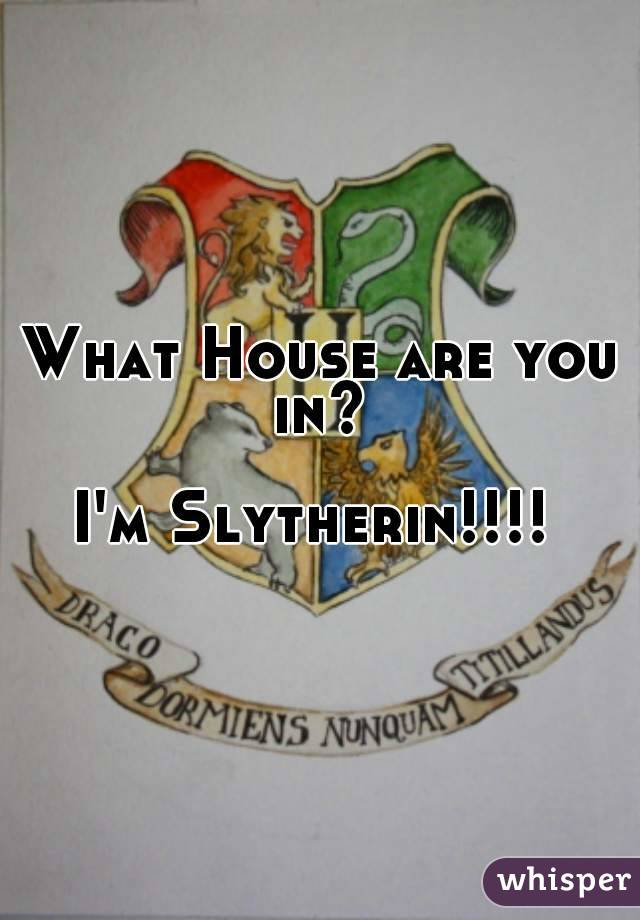 What House are you in?   I'm Slytherin!!!!