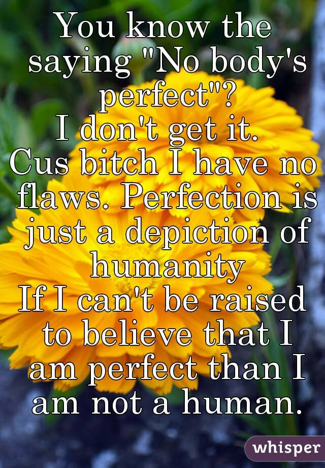 """You know the saying """"No body's perfect""""? I don't get it.  Cus bitch I have no flaws. Perfection is just a depiction of humanity If I can't be raised to believe that I am perfect than I am not a human."""