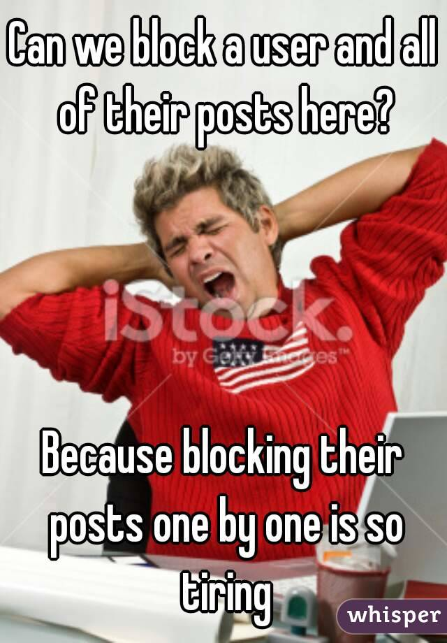 Can we block a user and all of their posts here?     Because blocking their posts one by one is so tiring